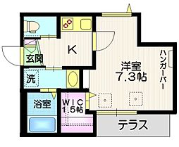 JR京浜東北・根岸線 大井町駅 徒歩8分の賃貸マンション 1階1Kの間取り