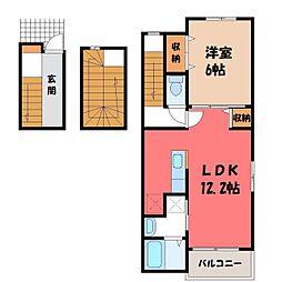 駒生町アパート(024142401) 3階1LDKの間取り