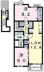 埼玉県鶴ヶ島市大字藤金の賃貸アパートの間取り
