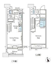 東京メトロ銀座線 表参道駅 徒歩12分の賃貸マンション 15階1LDKの間取り