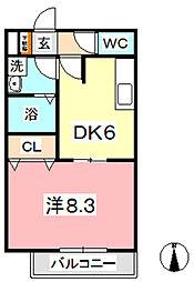 メゾンナガヤマ B[201号室]の間取り