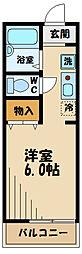 JR南武線 矢川駅 徒歩4分の賃貸アパート 1階1Kの間取り