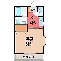 栃木県宇都宮市雀の宮5丁目の賃貸アパートの間取り