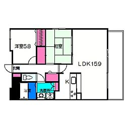 リッツラムセス 5階2LDKの間取り