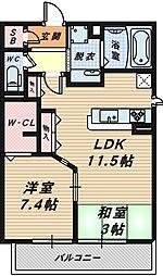 大阪府堺市北区百舌鳥西之町1丁の賃貸アパートの間取り
