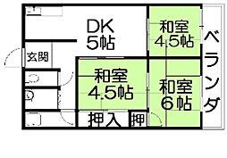 大阪府枚方市津田元町2丁目の賃貸アパートの間取り