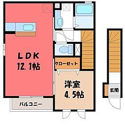 栃木県宇都宮市峰2丁目の賃貸アパートの間取り