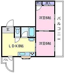 コーポイン松原[4階]の間取り
