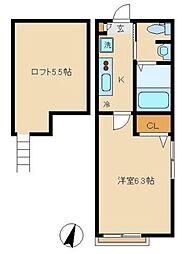 東急田園都市線 溝の口駅 徒歩10分の賃貸アパート 1階1Kの間取り