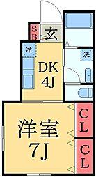 JR総武本線 都賀駅 徒歩5分の賃貸アパート 1階1DKの間取り