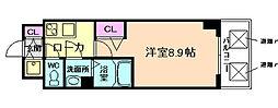 プランドール福島レジデンス 5階1Kの間取り
