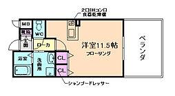 大阪府箕面市船場東1丁目の賃貸アパートの間取り