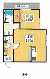 JR阪和線 堺市駅 徒歩8分の賃貸アパート 1階1LDKの間取り