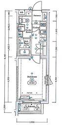エスファルベ中野松が丘アネックス 地下1階1Kの間取り