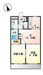 愛知県岡崎市洞町字向山の賃貸アパートの間取り