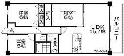 グランパティオ枚方[3階]の間取り