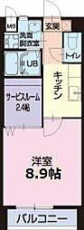 名鉄小牧線 間内駅 徒歩7分の賃貸アパート 2階1Kの間取り