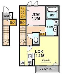 大阪府羽曳野市向野1の賃貸アパートの間取り