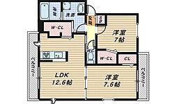 大阪府堺市北区大豆塚町1丁の賃貸マンションの間取り
