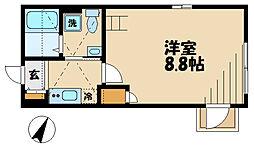 JR南武線 久地駅 徒歩9分の賃貸アパート 3階1Kの間取り