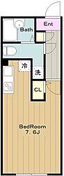 京王相模原線 京王永山駅 徒歩8分の賃貸マンション 2階ワンルームの間取り