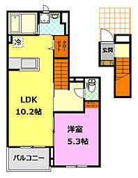 JR水戸線 結城駅 徒歩16分の賃貸アパート 2階1LDKの間取り