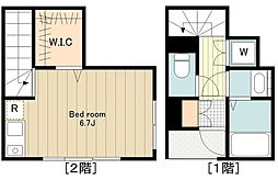 高円寺北3丁目計画 2階ワンルームの間取り