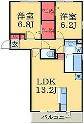 千葉県市原市ちはら台東4丁目の賃貸アパートの間取り