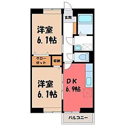 栃木県栃木市片柳町1丁目の賃貸アパートの間取り