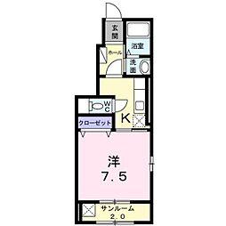 富山県富山市長江1丁目の賃貸アパートの間取り