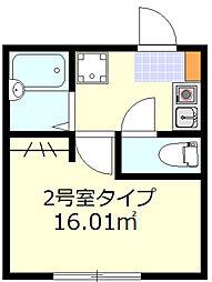 ルークス蒲田II 1階1Kの間取り