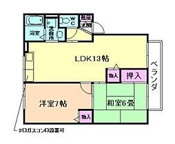 ラーク加茂[1階]の間取り