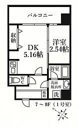 MODERN PALAZZO KEGOSUN(モダンパラッツ 7階1DKの間取り