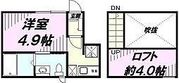 JR中央線 立川駅 徒歩16分の賃貸アパート 1階1Kの間取り
