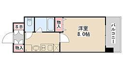 スカイビュー六甲 3階1Kの間取り