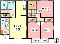 [タウンハウス] 岡山県倉敷市新田 の賃貸【/】の間取り