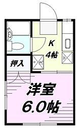 ファミーユ美原[1階]の間取り