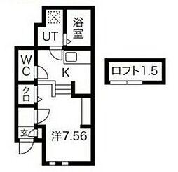 JR阪和線 浅香駅 徒歩3分の賃貸アパート 1階ワンルームの間取り