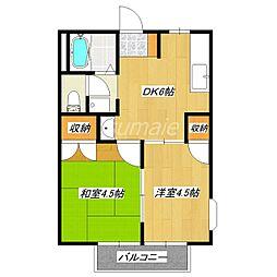 東京都北区上十条1丁目の賃貸アパートの間取り