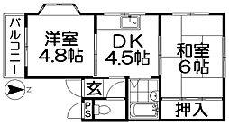 スカイハイツII[4階]の間取り