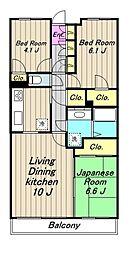 神奈川県相模原市緑区橋本6丁目の賃貸マンションの間取り