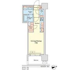 グランドプレシア芝浦 9階ワンルームの間取り