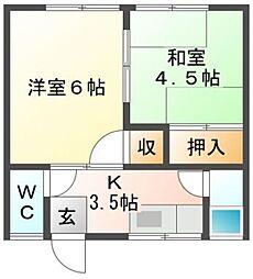 秋山アパート[5号室]の間取り