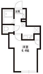 パークアレイ笹塚 2階1Kの間取り