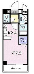 南海高野線 千代田駅 徒歩4分の賃貸マンション 4階1Kの間取り