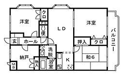 神奈川県平塚市山下の賃貸マンションの間取り