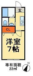 JR外房線 蘇我駅 徒歩18分の賃貸アパート 1階1Kの間取り