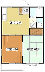 コーポ樹々[2階]の間取り