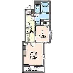 仮称 草加市栄町3丁目シャーメゾン 2階1SKの間取り