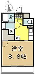 JR横浜線 片倉駅 徒歩8分の賃貸マンション 2階1Kの間取り